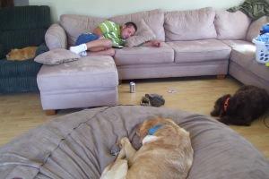 Brandon, Hannah, Porter, and Butterscotch